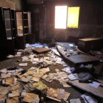 A torched police station interior in the city of Zawiyah, west of the capital Tripoli, Libya, 05 April 2011. Mohamed Messara/EPA