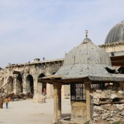 Photo showing the Umayyad Mosque in the old city of Aleppo, northern Syria, with debris from its destroyed minaret. 8 February 2017. Kyodo.
