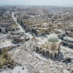 The ruined Great Mosque of al-Nuri (foreground) after Islamic State destroyed the symbol of the Old City of Mosul, Iraq, 29 July 2017. Kyodo/MAXPPP